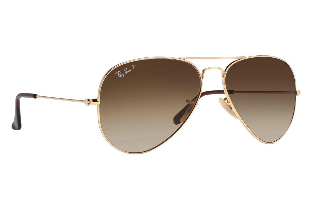 Ray-Ban® RB3025 58 Aviator Large Polarized Sunglasses - Gold