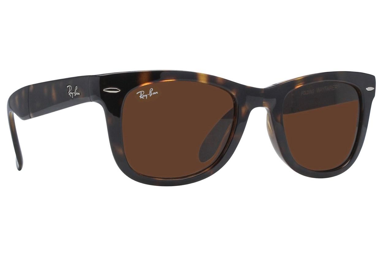 Ray-Ban® RB 4105 50 Folding Wayfarer Sunglasses - Tortoise